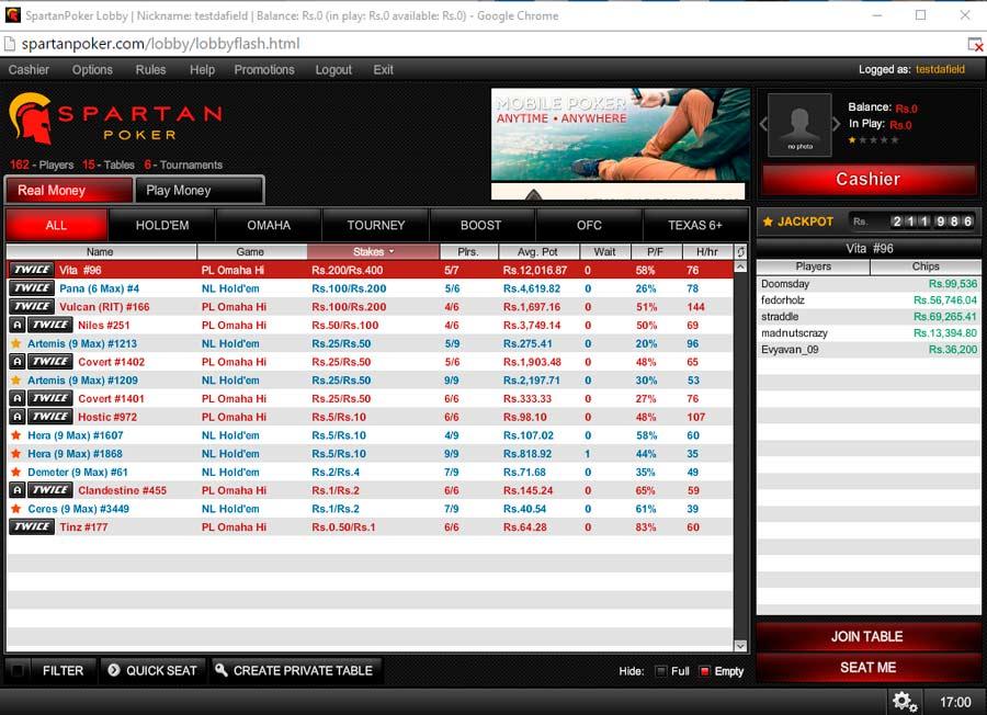 Spartan Poker online gambling