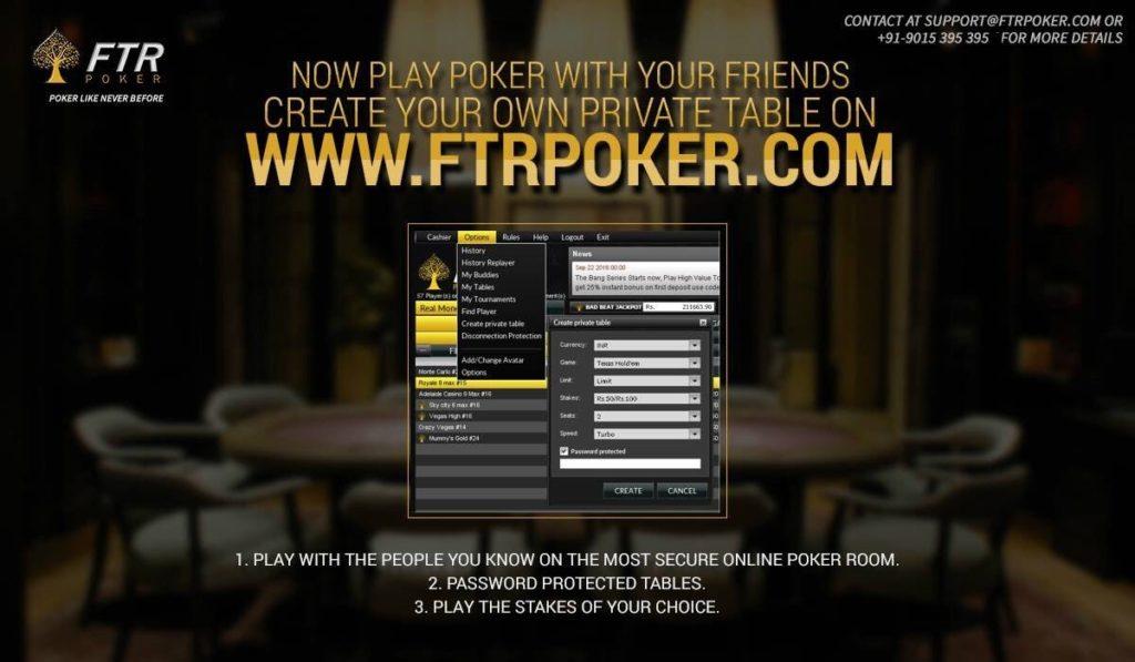 Register with FTR poker